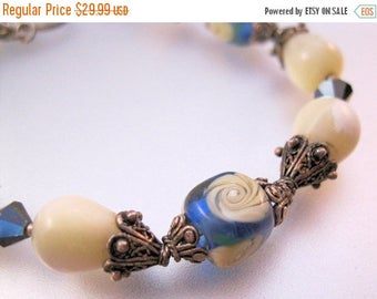 SALE ON Ends 4/30 Etruscan Revival Blue & Cream Venetian Art Glass Sterling Silver Bracelet with Mother of Pearl Toggle Clasp Vintage Jewelr
