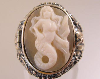 Mermaid Cameo Poison Locket Ring Sterling Silver Signed Size 8 Vintage Style