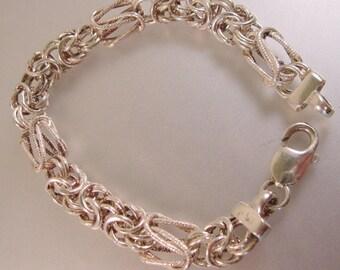 Italian Bizantine Bracelet Designer Signed .999 Fine Sterling Silver 17.5g Estate Jewelry Jewellery