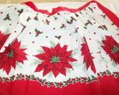 SALE - Christmas Apron, red half apron, floral, holiday, kitchen