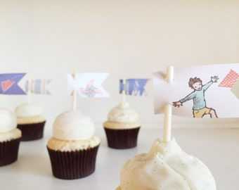 sarah jane children at play boy flag pattern paper cupcake toppers set of 12