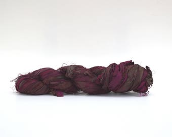 Sari Silk Ribbon Yarn Deep Purple, 100 grams (3.5oz), 6 Weight (Super Heavy)
