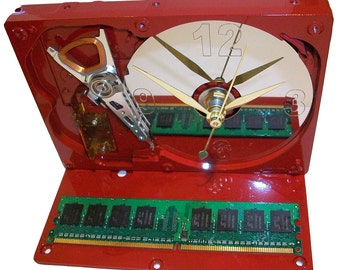 Glossy Red Painted Computer Hard Drive Clock, a Special Holiday Color. Got Unique Gift?