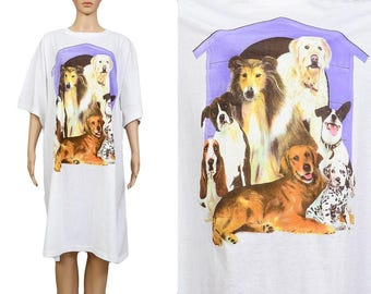 Deadstock Vintage 90s Dog T-shirt Oversize Tee Baggy Loose Shirt Kitschy Novelty Puppies Doggies Graphic Print T-shirt Dress ONE SIZE