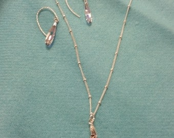 Swarovski Crystal Teardrop Necklace and Earring  Set