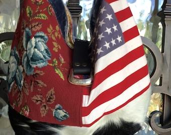 Vintage Flag, Roses Needlepoint Faux Cowhide, Patriotic Handbag
