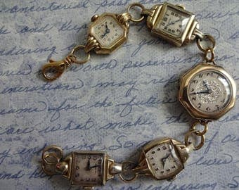 Old Vintage Art Deco Ladies Gold Watch Watches Face Charm Bracelet Steampunk Altered Art Recycled All Watch Cases Are Gold Filled