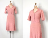 vintage 1940s dress /  dusty rose 40s boucle knit dress / Pretty In Pink