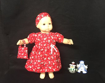 Doll Clothes for Bitty Baby Girl Dolls or Bitty Twin Girl Dolls Winter Wonderland Snowflake Snowman Dress