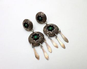 Vintage Green Turquoise and Silver Dangle Earrings Southwest Concho-like Style