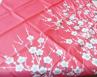 Pink Wrapping Cloth Furoshiki With White Plum Blossom Design Vintage Japanese