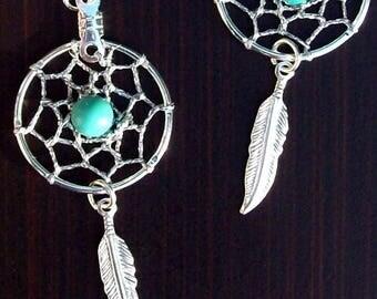 """ON SALE Dreamcatcher earrings Silver & Turquoise  """"BLUE Sky"""""""