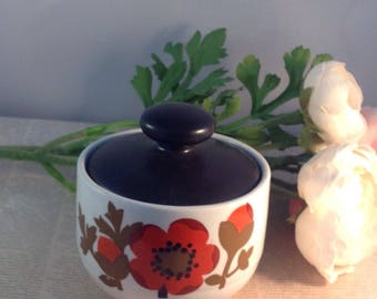 Alfred Meaking Glo-white ironstone sugar bowl,Alfred Meakind Pottery Poppy covered sugar bowl