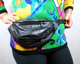 Vintage 80s 90s Black Leather Fanny Pack