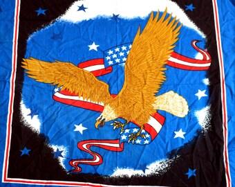 Vintage 90s USA Flag Eagle Hankerchief Scarf Bandana