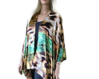 Satin Kimono cardigan -African Queen-Brown,blond and green-Leopard print  and gold with peacock feathers print-Satin Ruana cardigan