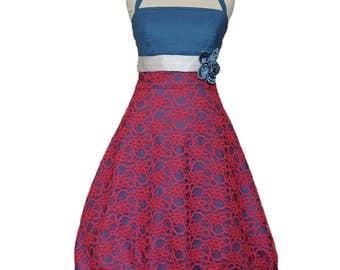 Lace Dress, Bubble Dress, blue, fuchsia, pink, vintage, dress, summer dress, bridesmaid, wedding, elegant, smoky blue, boho, summer