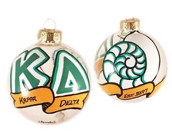 Very Small Handpainted Kappa Delta Holiday Ornament