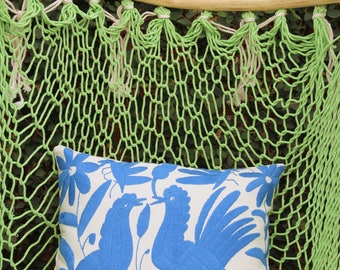 Blue Pillow Sham-Otomi Embroidery Ready to ship.