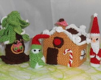 Maison pain d'épices sapin père Noël bonhomme de neige au crochet déco