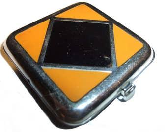 "Art Deco Compact. Orange Black Geometric. Ladies Vanity Powder Compact. Circa 1930s. Petite 1.5"" square."