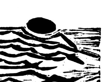 Ocean Sunset Relief Print