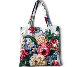 Large floral cotton tote red gold blue green white