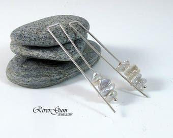 Keshi Pearl Earrings, Argentium Silver Square Thread Earrings, Pearl Earrings, Contemporary, Handmade by RiverGum Jewellery