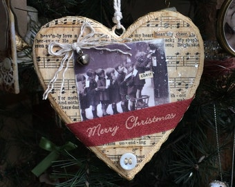 Letters to Santa Vintage Photo Heart Shaped Christmas Decoration
