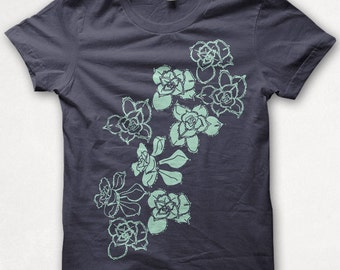 Womens Tshirt Succulents Fitted Flower Shirt Plants Screenprinted Graphic Tee - Asphalt