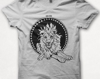 Mens Tshirt, Lion Tshirt, Lion Shirt, Graphic Tee, Forest and Fin, Screenprint - White