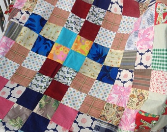 Vintage handmade unfinished colorful patchwork squares quilt top