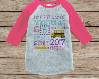 Girls First Day of Kindergarten Shirt - Back To School Shirt - Kindergarten Stats Shirt - Kids Pink Raglan - Girls My 1st Day of School