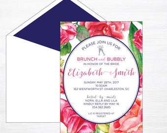 Watercolor Flower Invitation, Bridal Shower Invite, Navy and Pink, Brunch Invite, Watercolor Invitation, Floral Invitation, Spring Invite