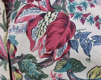 "Barkcloth Fabric  36.5"" width 5 plus yards unused Yardage  Pink Green Mid Century VINTAGE by Plantdreaming"