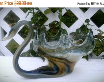 ON SALE Vintage Murano Glass Swan Dish Bowl 1960s