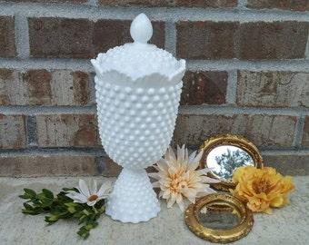 Vintage Fenton Hobnail Milk Glass Apothecary Jar No. 3689 Circa 1964-1973