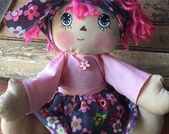 Raggedy Ann doll - pink - flowers