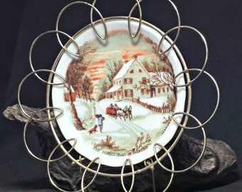 Miniature Currier & Ives Plate in Loopy Metal Frame / Miniature Homestead in Winter Porcelain Plate in French Country Cottage Metal Hanger