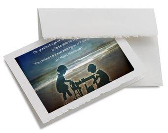 Children of Maria Montessori Quote - Greeting Card - Montessori Teacher Gift - Made in the USA - Back to School - Montessori Gift