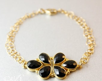 CHRISTMAS SALE Gold Black Onyx Floral Bracelet - Statement Bracelet - Black and Gold