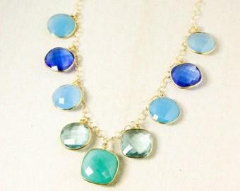 Gold Gemstone Bib Necklace - Green Chrysoprase, Aqua Chalcedony, Sky Blue Chalcedony - 14Kt GF