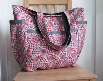 Mad for Retro Dots Upcycled Large Weekender - Vintage Red and Grey - Baby / Teacher / Market / Diaper Bag - Eco Friendly Mom / Sis Gift -