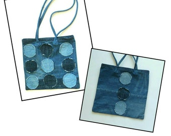 Denim - Tote - Dark Blue - Faded Blue - Circles - Purse - Recycled Jeans - Eco Friendly - Boho - Unisex - High Fashion - Original - Frayed