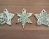 Three Handmade Pottery Ornaments Christmas Decoration