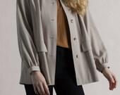 Vintage 60s Givenchy Tan Wool Smock Jacket / Designer Vintage Outerwear