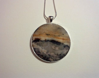 Naturally Dyed Ecoprint Silk Pendant Landscape in Rust Brown, Dark Greys and Black