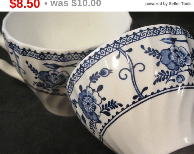 2 Cups Vintage JOHNSON BROTHERS - Indies Blue Pattern Transfer Ware Ironstone, Replacement China, Crafting China, Coffee Cups