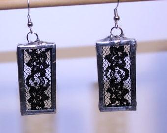 Pair of Vintage Flower Black Lace Earrings, Soldered Lace Earrings, Black Lace Jewelry, Unique Lace Earrings, Boho Lace Earrings