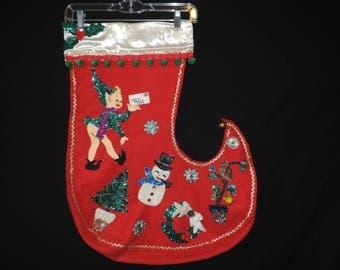 1950s felt Christmas stocking vintage Christmas theme sequin appliqué GIANT stocking